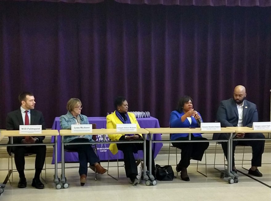 Lamont Bagby (right), alongside Sen. Rosalyn Dance (speaking) and Del. Delores McQuinn (center) at a census roundtable attended by Governor Northam on Monday.