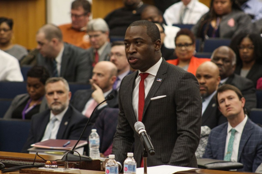 Richmond Mayor Levar Stoney presenting his budget to City Council earlier this year.