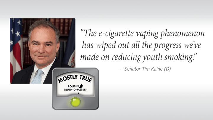 Sen. Tim Kaine claims vaping has erased gains in cutting teen smoking.