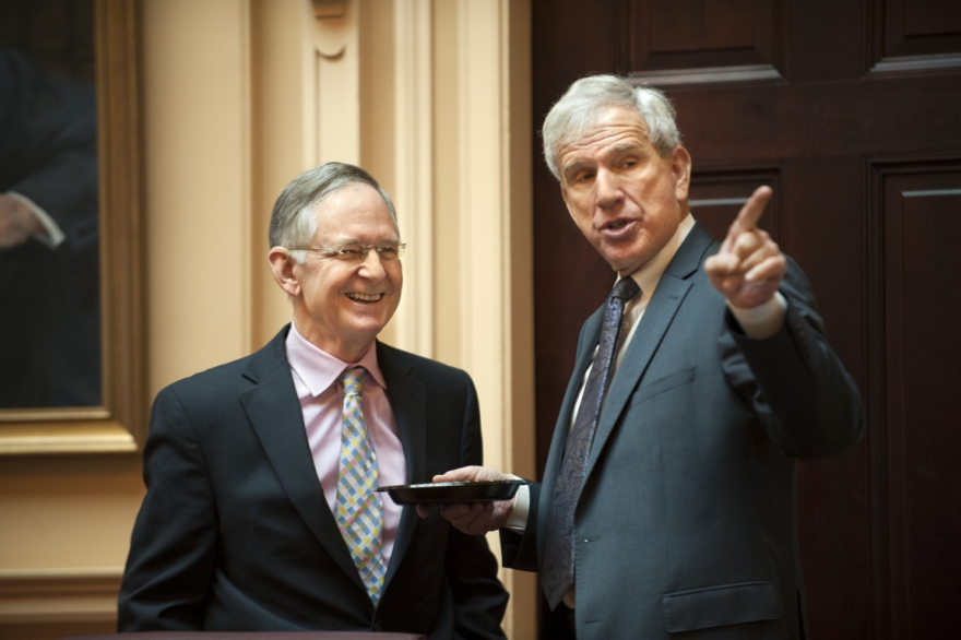 Sen. Dick Saslaw (right) alongside Republican Senate Majority Leader Tommy Norment.