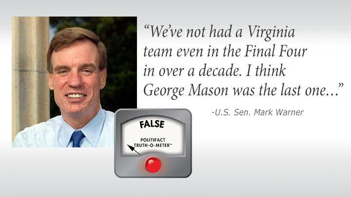 """Other than University of Virginia's 2019 basketball team, """"We've not had a Virginia team even in the Final Four in over a decade. I think George Mason was the last one…"""""""
