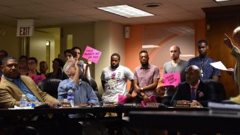 Community advocates and residents gather at the July 17, 2019 meeting of the RRHA Board of Commissioners