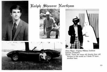 Northam's 1984 yearbook page