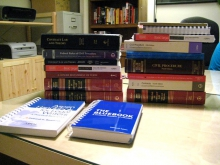 A stack of law books.