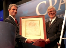 "Then AG Cuccinelli, left, receives the ""Defender of the Constitution"" Award at the Conservative Political Action Conference in 2012."