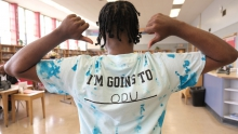 Timothy Gills, a 19-year-old George Wythe senior, in a shirt dyed to match ODU's colors.