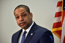 Lt. Governor Justin Fairfax at a press conference on Wednesday