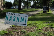 campaign sign for Hashmi in 10th Senate District. (Photo: Yasmine Jumaa/WCVE)