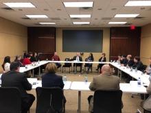 Senator Tim Kaine speaks with Latino community leaders.