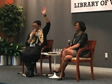 Kenyatta D. Berry (r) speaks at the Library of Virginia.