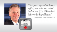 "Governor Terry McAuliffe said """"Five years ago, when I took office, our state was mired in debt -- a $2.4 billion debt left over by Republicans."""