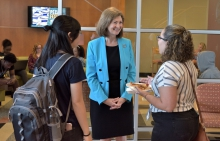 President Debbie Sydow Greets Students at Richard Bland College Courtesy:  Richard Bland College