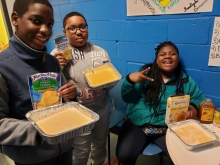 Students with Art 180 and NRC Fulton made a podcast based on a cornbread cook-off..