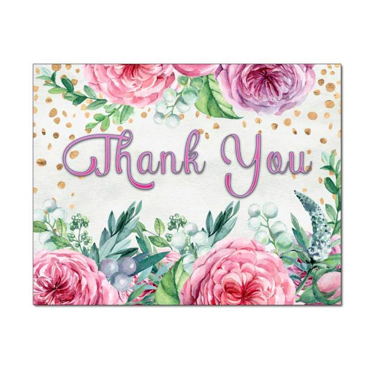 Confetti Flowers Thank You Cards