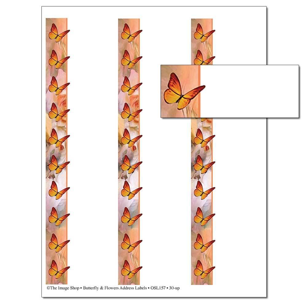 Butterfly & Flowers Address Labels