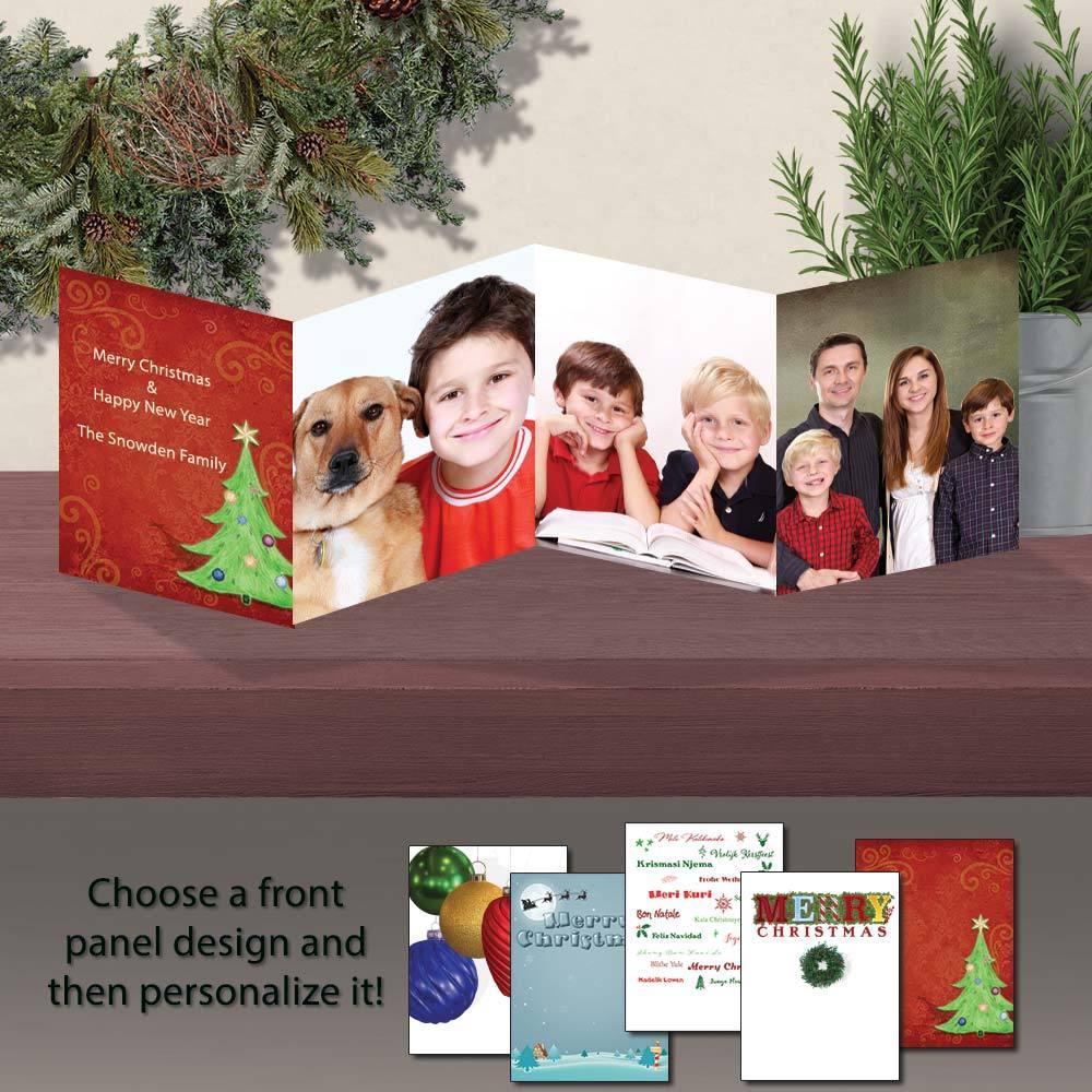 Christmas Icons Personalized Photo Flip Fold Cards