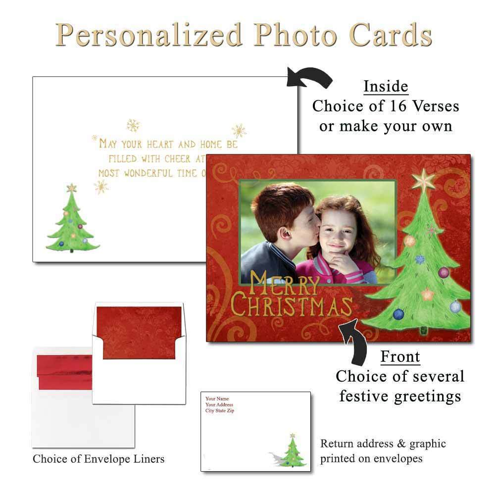 Decorated Damask Personalized Photo Greeting Cards