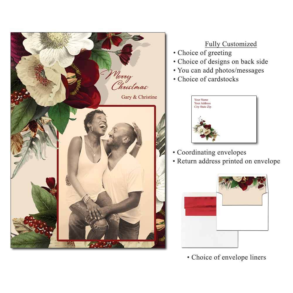 Ethereal Flowers Personalized Photo Flat Cards