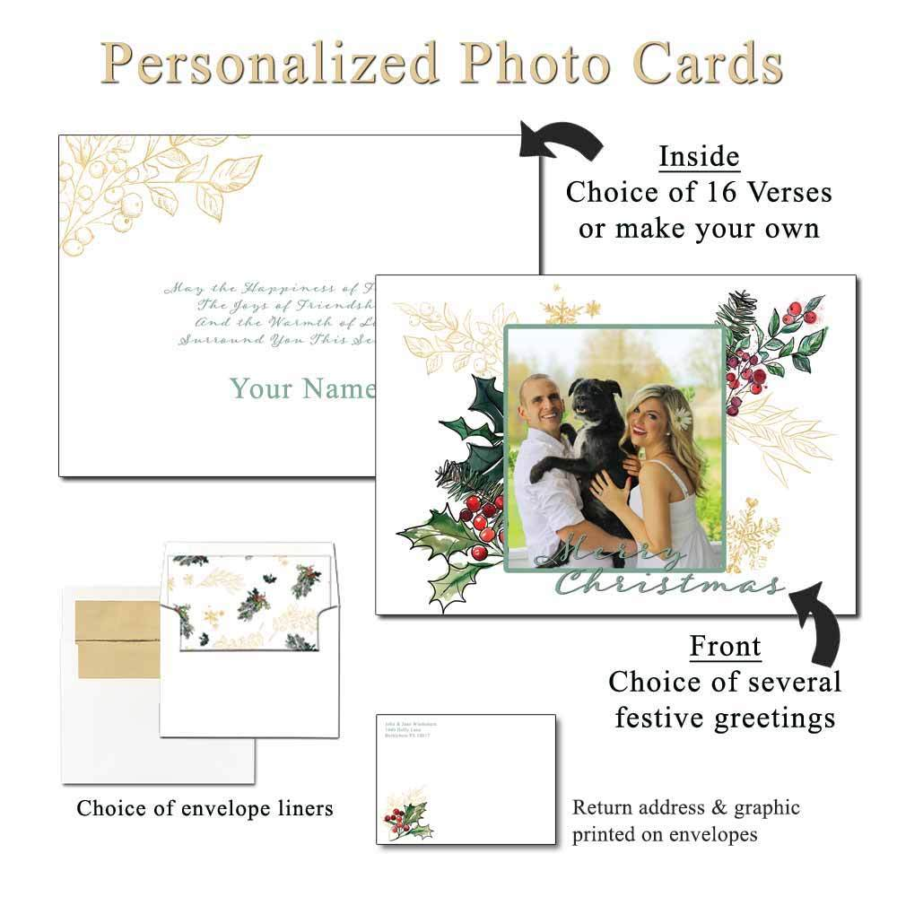 Holly Berries Personalized Photo Greeting Cards