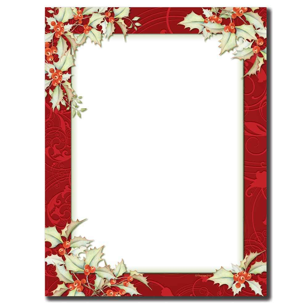 holly border letterhead paper
