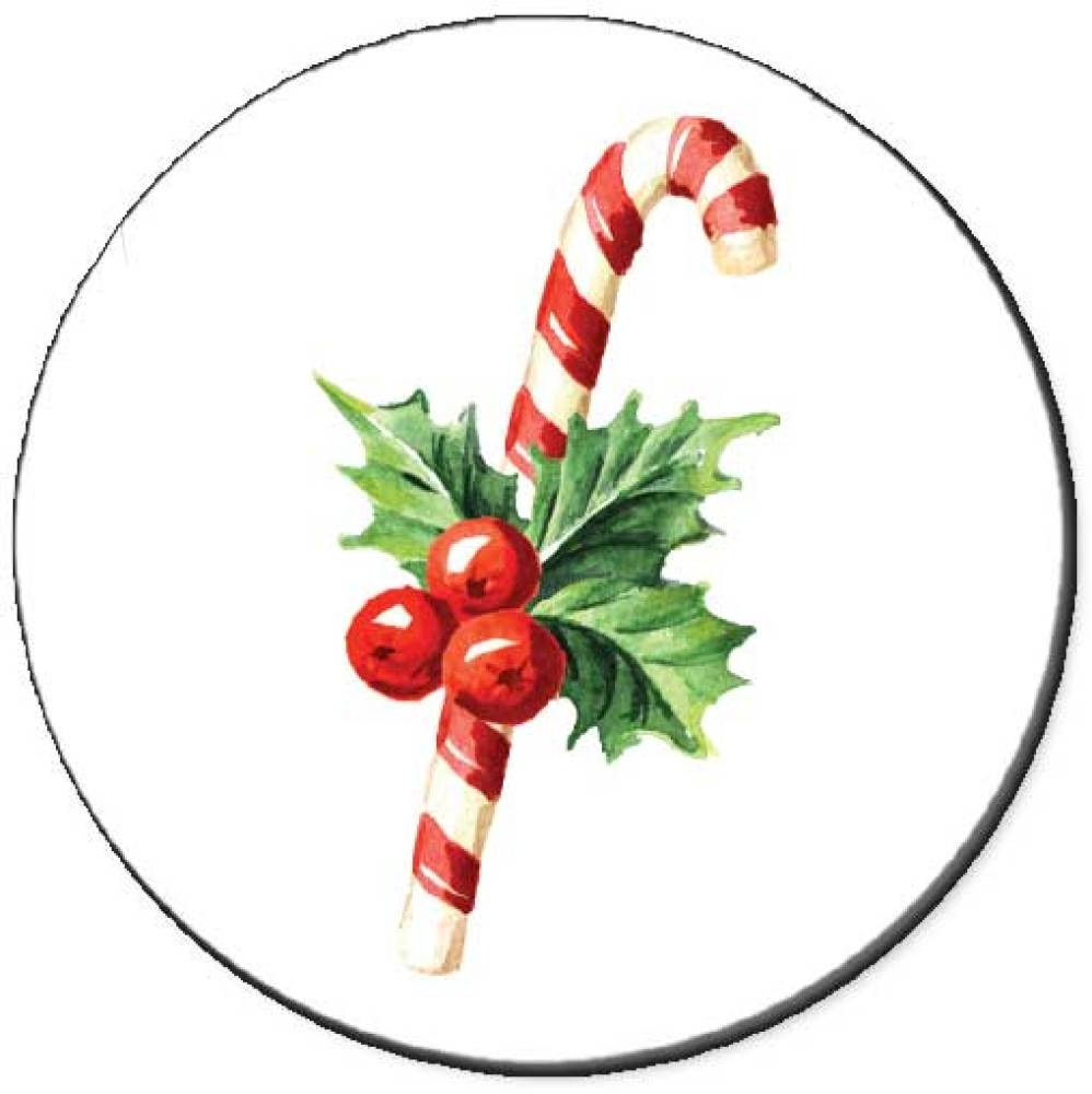 Holly With Candy Canes Seals
