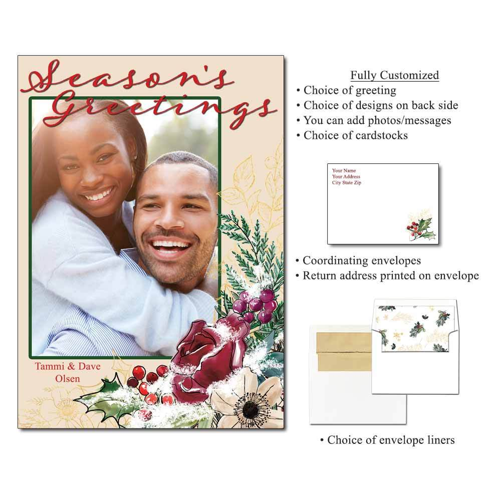 Inky Holiday Personalized Photo Flat Cards