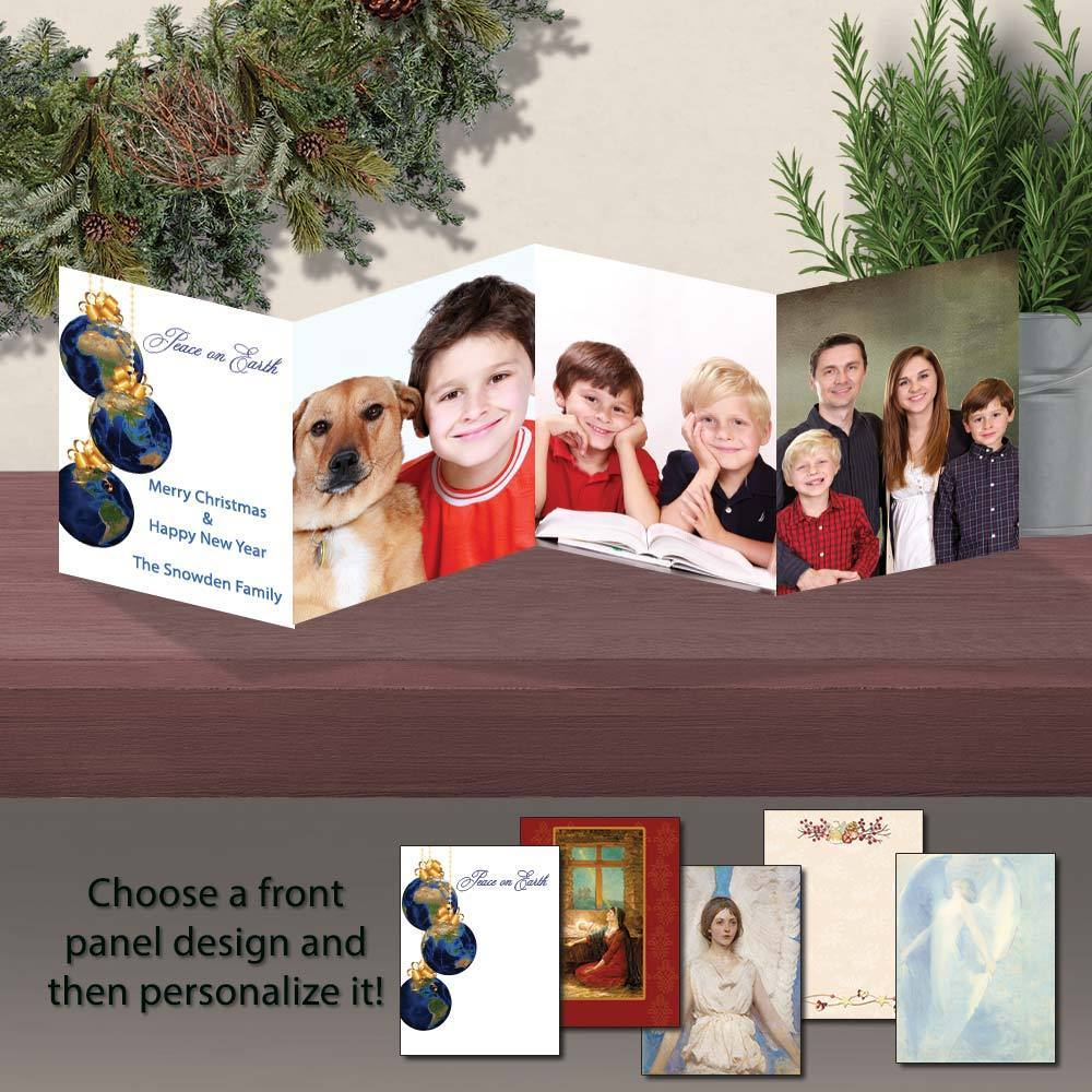 Inspirational Christmas Personalized Photo Flip Fold Cards