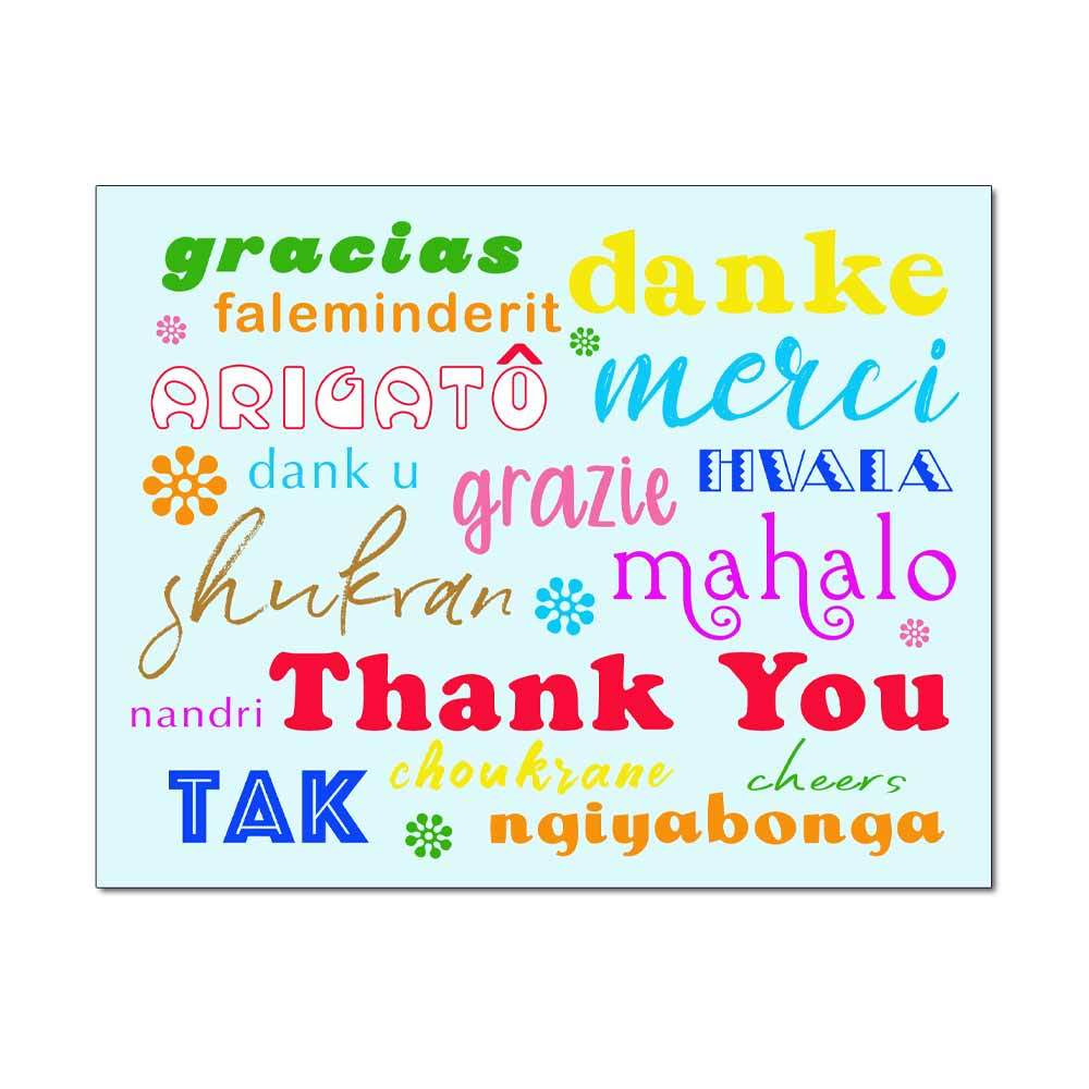 Multicultural Blue Thank You Card