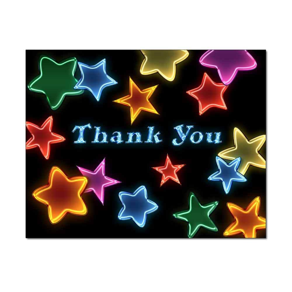 Neon Stars Thank You Card