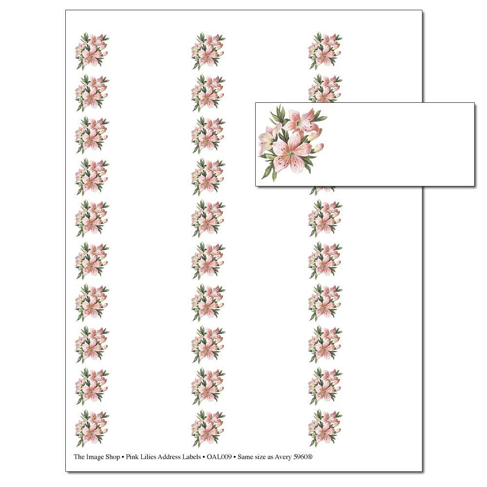 Pink Lilies Address Labels