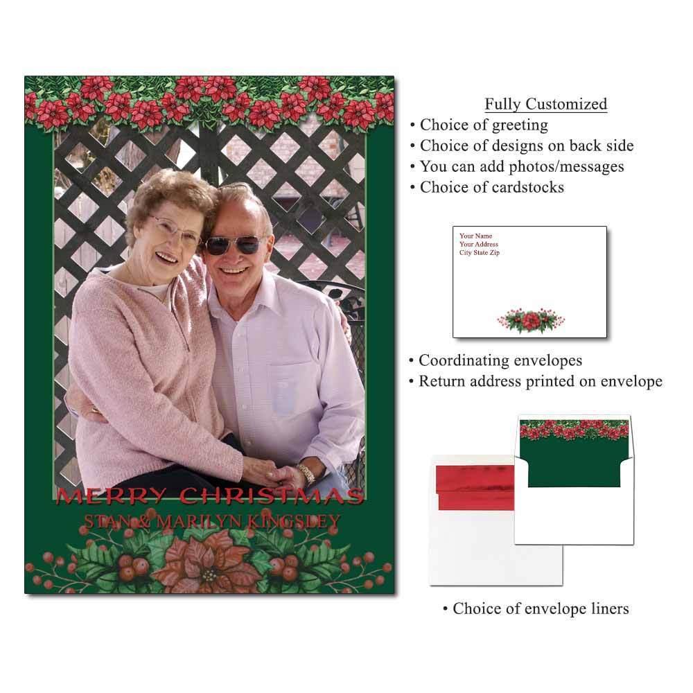 Poinsettia Valance Personalized Photo Flat Cards
