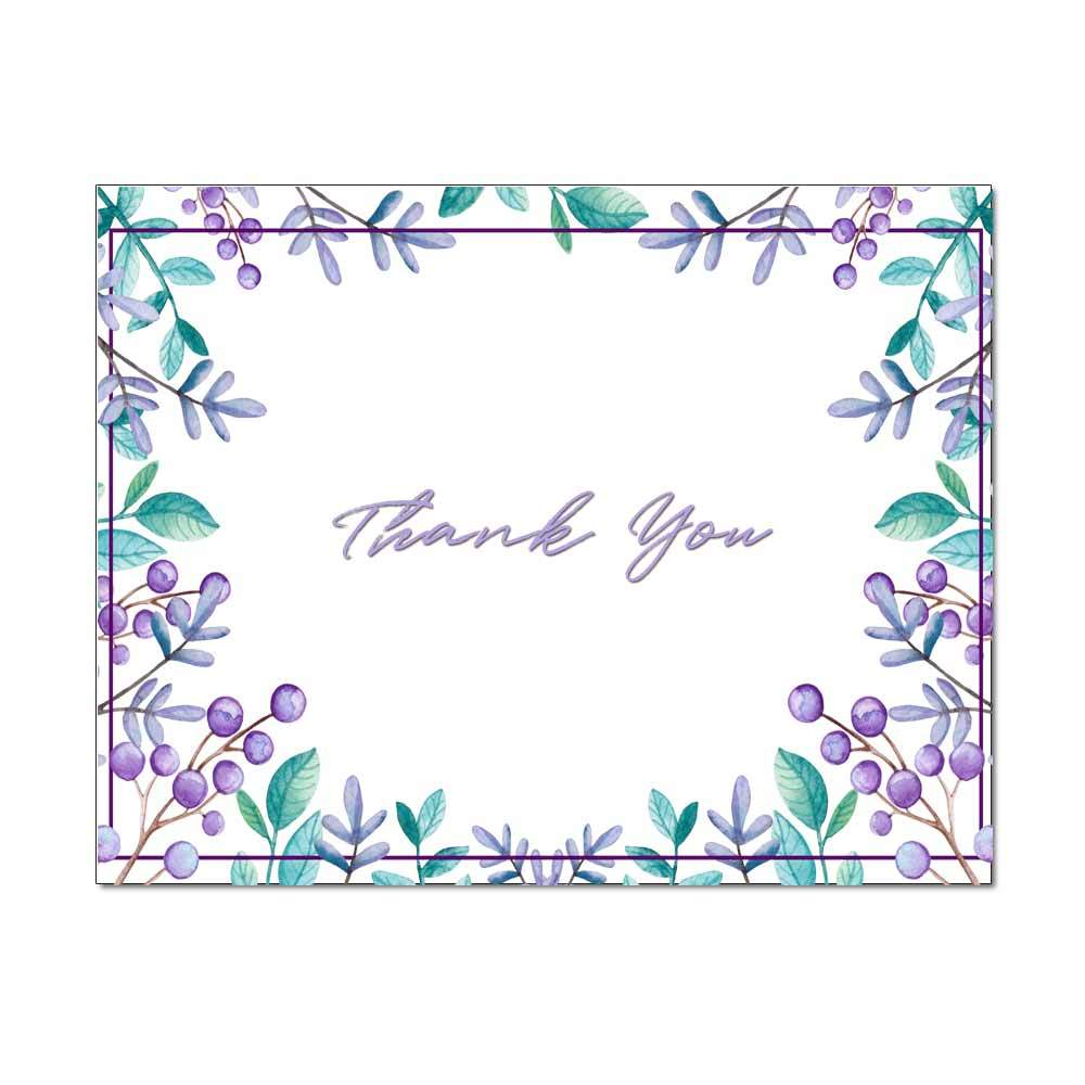 Purple Leaves Thank You Card