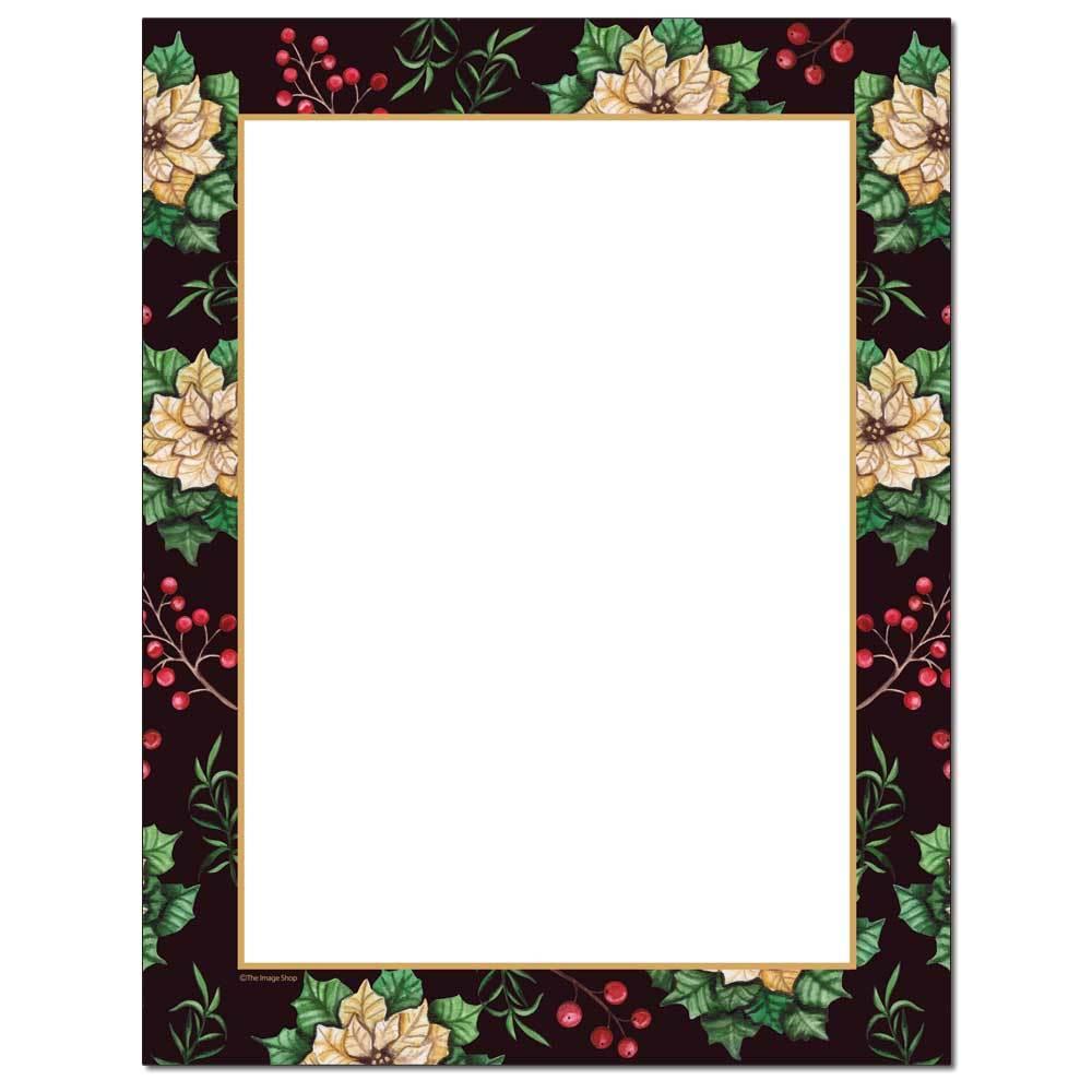Royal Poinsettia Border Paper