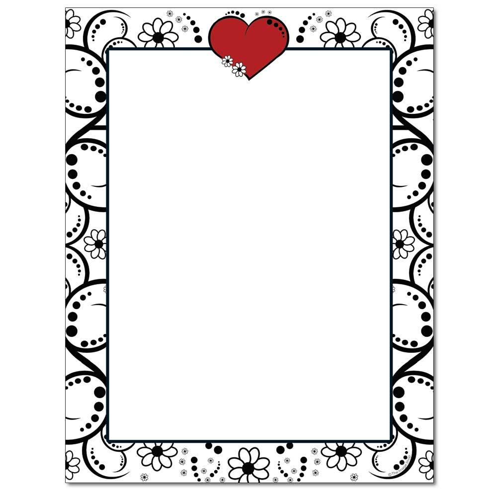 Red Heart & Flowers Letterhead