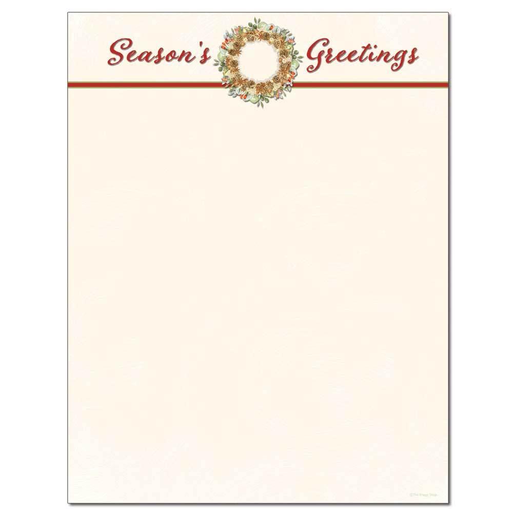 Season's Greetings Wreath Letterhead