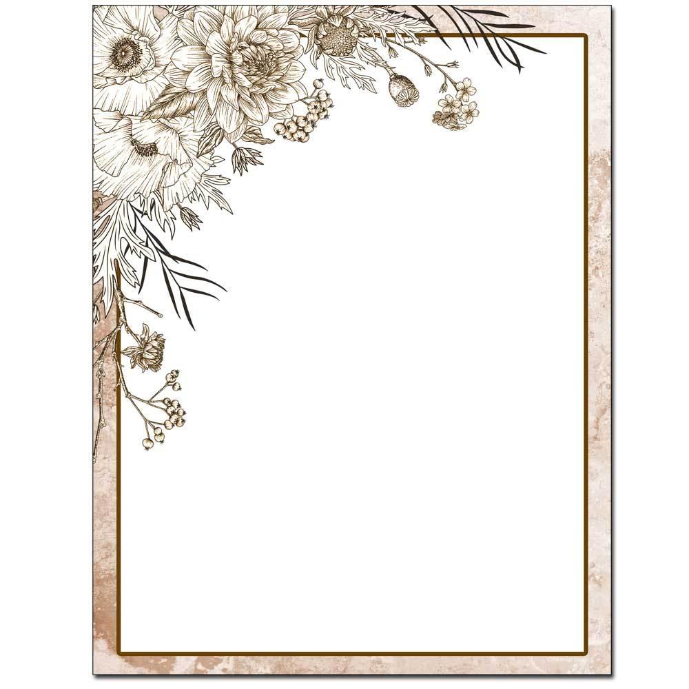 Sepia Flowers Letterhead