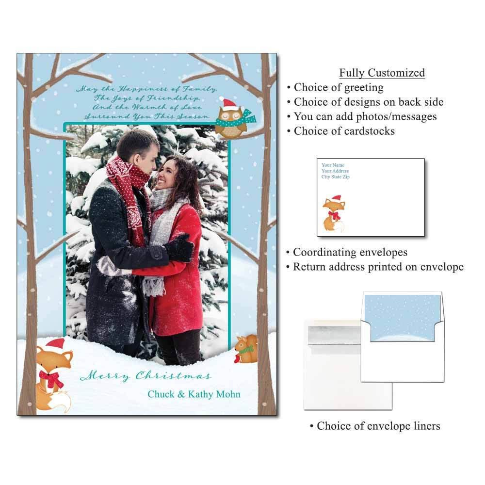 Snowy Friends Personalized Photo Flat Cards