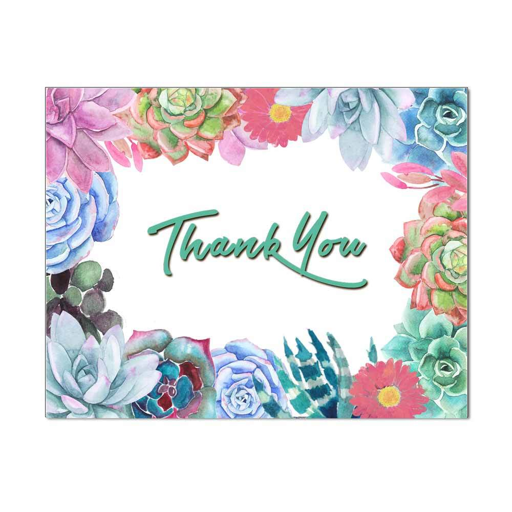 Succulent Border Thank You Note Card
