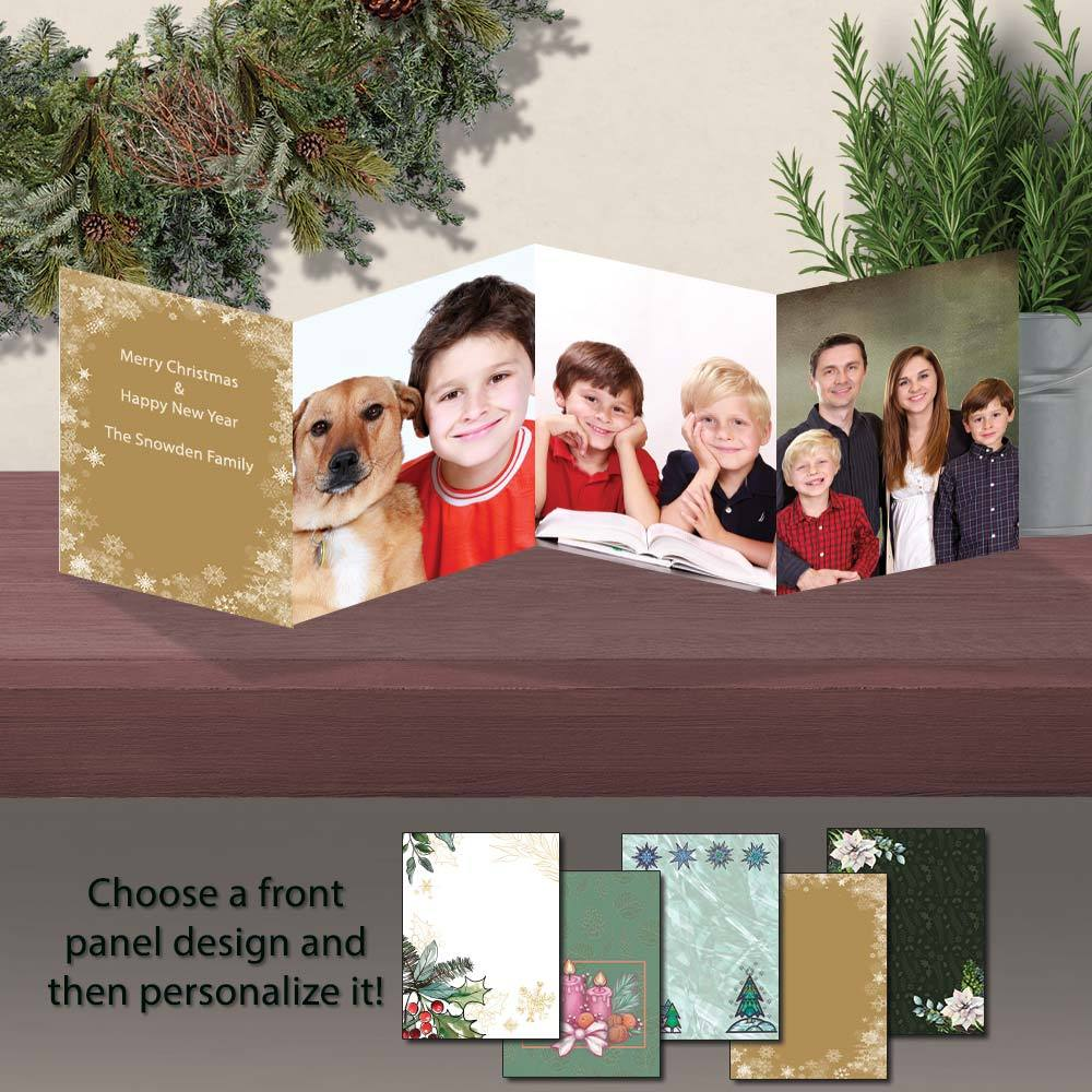Traditional Christmas Personalized Photo Flip Fold Cards