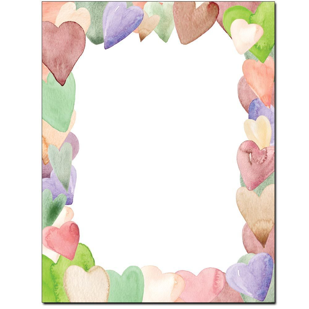Watercolor Hearts Letterhead