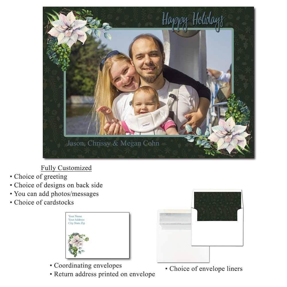 White Poinsettia Personalized Photo Flat Cards