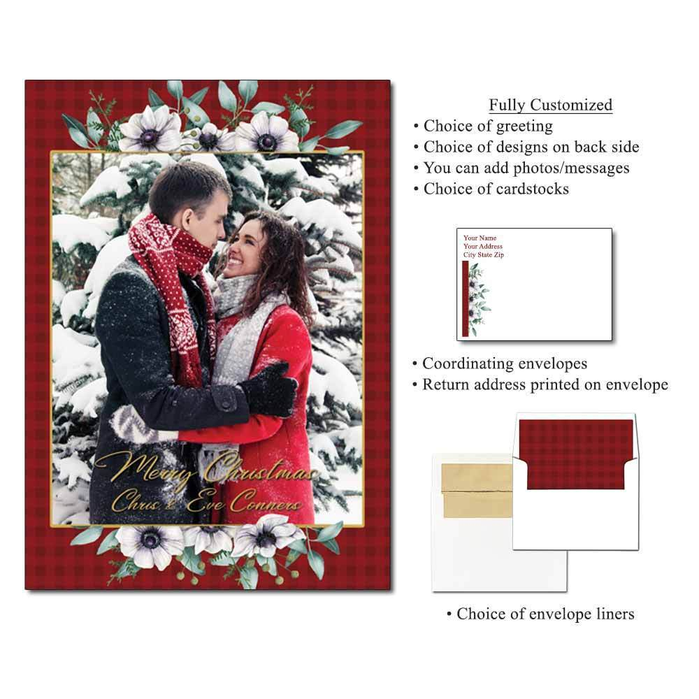 Winter Blooms Personalized Photo Flat Cards