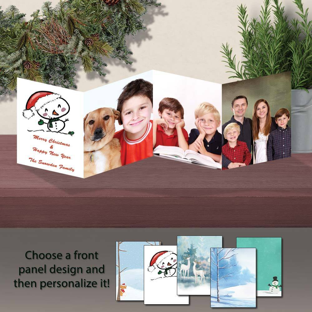 Winter Holidays Personalized Photo Flip Fold Cards