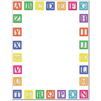 Alphabet Blocks Letterhead - 25 pack