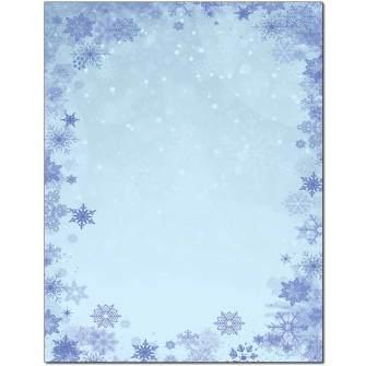 Blue Snowflakes Letterhead - 25 pack