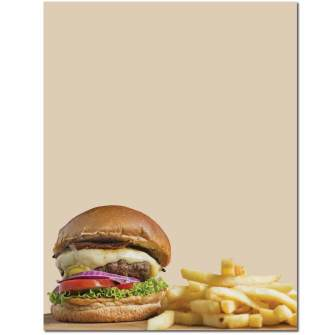 Burger & Fries Letterhead - 100 pack