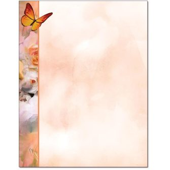 Butterfly & Flowers Letterhead - 25 pack