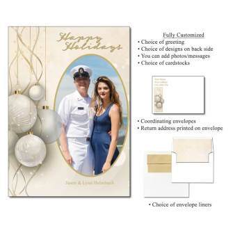 Christmas Baubles Personalized Flat Cards