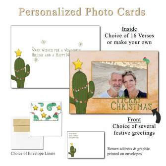 Christmas Cactus Personalized Photo Greeting Card