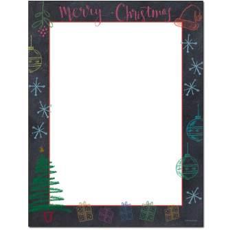 Christmas Chalkboard Letterhead - 100 pack